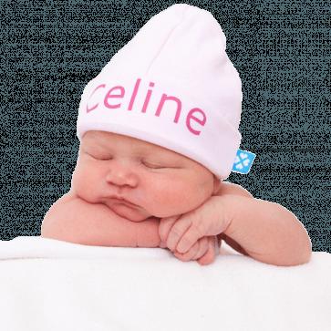 Babymutsje met naam bedrukt