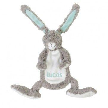 Grijze Happy Horse Rabbit Twine Knuffeldoekje met naam bedrukt