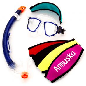 Maskerband neopreen voor duikbril met naam bedrukt
