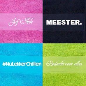 Juf of Meester handdoek/strandlaken met eigen tekst bedrukt