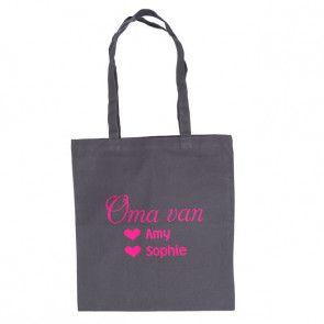 Katoenen tas voor mama of oma bedrukt met namen