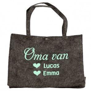 Vilten tas voor mama of oma bedrukt met namen