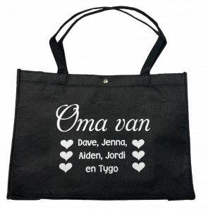 Vilten tas voor mama of oma met namen bedrukt