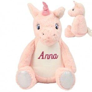 Roze Eenhoorn knuffel Pink Unicorn met naam borduring
