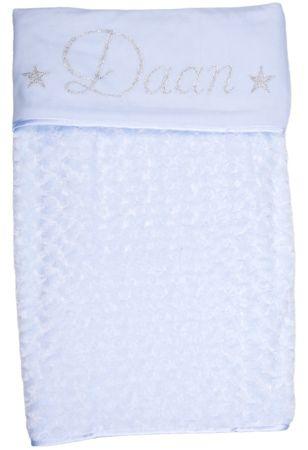 blauw babydekentje met naam koter kado