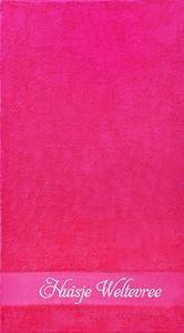 gastendoekje roze met eigen tekst bedrukt koterkado
