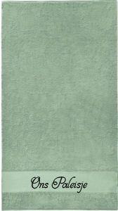 gastendoekje stonegreen met eigen tekst bedrukt koterkado